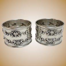 "Pair of Vintage Sterling Silver ""Strasbourg"" Napkin Rings by Gorham"