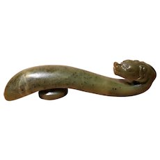 15-16th c Ming Dynasty Green Jade Belt Hook Chinese Antique