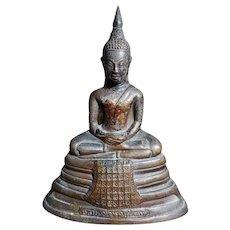 Antique Thai Buddha Statue Bronze with Golden Foil