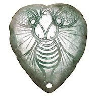 Lovely Antique Chinese Jadeite Heart Butterfly Ornament (18th-19th c, Qing Dynasty) 清代翡翠蝴蝶爱心小镶嵌件