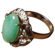 Antique Jadeite White Gold Ring