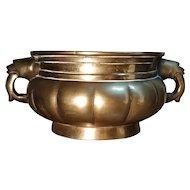 Qing Dynasty Incense Burner Censer Urn Bronze Brass with Handles