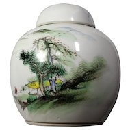 Early-20th-c Chinese Landscape Painting Porcelain Jar WuCai Style
