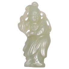 18-19thc Hetian Jade Girl Pendant Chinese Qing Dynasty