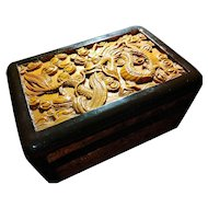 Extraordinary Vintage Wooden Box Carved with Chinese Dragons 漂亮雕龙木盒子