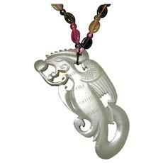 18-19th c Phoenix Necklace Pendant Chinese Antique Hetian Jade