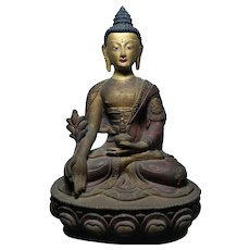 Rare Sino Tibetan Bronze Buddha Statue 藏传古董佛像造像