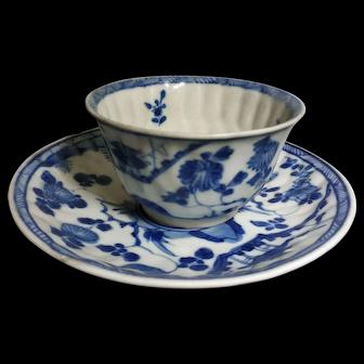 Exquisite Blue White Porcelain Tea Cup and Saucer (18th c, Kangxi Era, Qing Dynasty) 清康熙青花楼阁花草杯碟