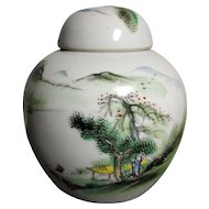 Beautiful Antique Landscape Painting Porcelain Jar Wu Cai (Five Colors) Style (early 20th c) 民国五彩山水盖罐