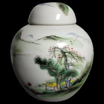 Beautiful Antique Landscape Painting Porcelain Jar Wu Cai (Five Colors) Style (early 20th c) 民国五彩山水盖罐