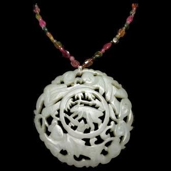 Cute Antique Moon Rabbit Hetian Jade Pendant (18th-19th c, Qing Dynasty) 清代和田玉和合玉兔佩