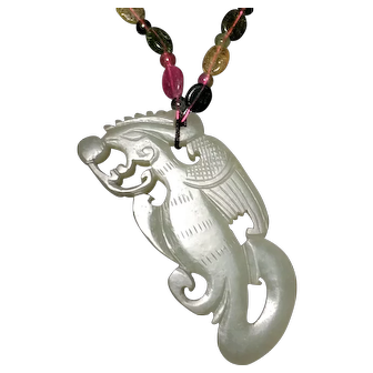 Antique Phoenix Chinese Hetian Jade Necklace Pendant (18th-19th c, Qing Dynasty) 清代和田白玉凤佩