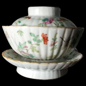 Rare Antique Porcelain Tea Cup Set Ceramic (19th c, Qing Dynasty) 清代粉彩茶杯三件套