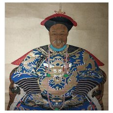18th-19th c Portrait Painting Manchu Official Fifth Grade in Traditional Scroll