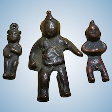 12th-18th c Bronze Child Figurines Turk Hun Mongolia (set of 3) 辽金童子