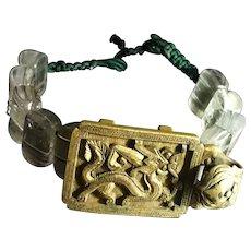 18-19th c Belt Buckle Dragon Bracelet 清代铜鎏金龙带扣水晶手串