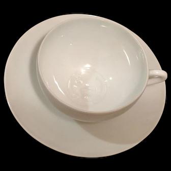 Japanese Lithophane Plain White Tea Cup with Saucer