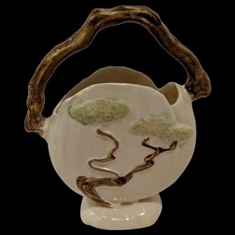 Roseville Pottery, Ming Tree, Temple White Basket c. 1949