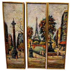 Paris Street Triptych by Antione Blanchard