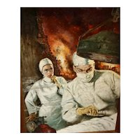 A Doctor & Nurse helping a wounded person  by Verne Tossey