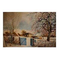 Winter landscape by R. Hibert