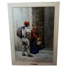Genre watercolor by Pietro Gambrini