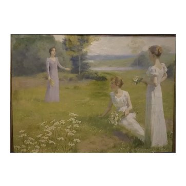 Ladies in a Meadow by Leopold Franz Kowalsky