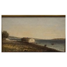 Coastal Scene with a Boat dock