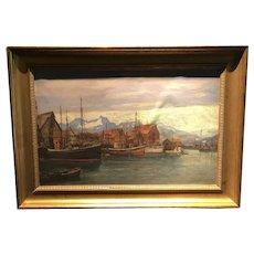 European Harbor Scene