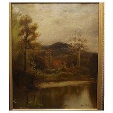 Hudson River landscape by Arthur Parton