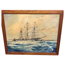 Marine painting signed by P Richmond
