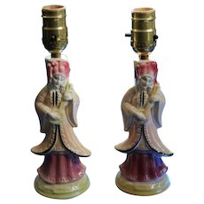 Working Pair of Vintage Shawnee Oriental Table Lamps Circ. late 's 40's - 50's