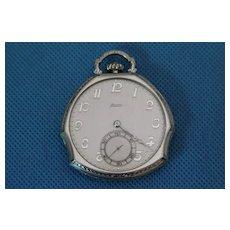 Zenith  Enamel White Gold Filled Pocket watch circ 1920's