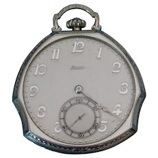 Zenith  Enamel White Gold Filled Pocket watch circ 1920's