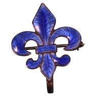 Sterling Silver w/Blue Guilloché Enamel Pin for ladies Pocket watch style watch