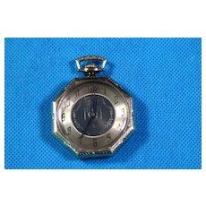 14k White Gold Waltham Octagon Cased pocket watch Circ 1920
