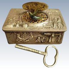 Silver & gilt singing bird box