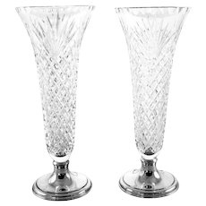 Pair of Hawkes Crystal and Sterling Vases