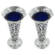 Pair of Sterling Vases with Cobalt Liners