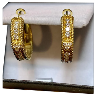 Judith Ripka signed  18k Yellow gold diamond earrings.
