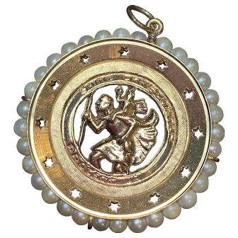 14k yellow gold and cultured pearl St. Christopher pendant
