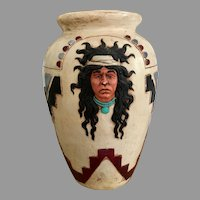 Vary rare and large 1980s  southwest indians native americans pottery amphora floor tabletop flower vase with faces