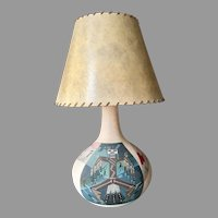 Navajo native americans sand painting, earthenware pottery table lamp, signed Lorenzo Stewart