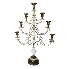 French signed religious ecclesiastical church style seven light candelabra