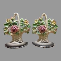 Pair of gorgeous cast iron flower basket rose bud bookends