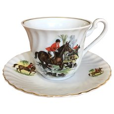 Schwarzenhammer Germany tea cup and saucer, hunting scenes