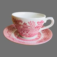 Churchill willow Rosa pink tea cup and saucer set