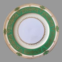 Gorgeous Noritake China dinner  plate emerald green gold