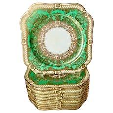 1930s gorgeous Noritake Japan emerald green gold square plates set of 11, 6.5'' x 6.5''