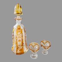 1930s Josephinenhutte amber honey glass liquor decanter with two glasses